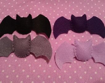 Cute Kawaii Pastel Goth Felt Bat Brooch Pin