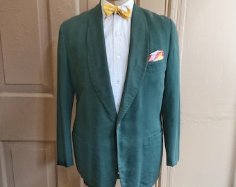 Vintage 1950s Green Shawl Lapel Tuxedo Dinner Jacket by Brooks Brothers. Size 43