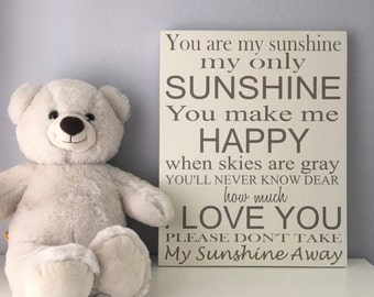 You Are My Sunshine Wood Sign Nursery Wall Decor