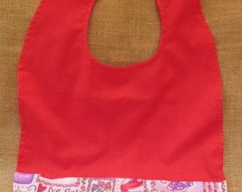 Adult Bib / Clothing Protector  /Red Hat Society   (B)