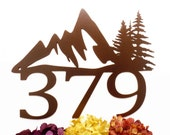 Custom Mountain House Number Metal Sign - Copper, 17x13, Mountain Range, Mountains, House Numbers, Outdoor Metal Sign