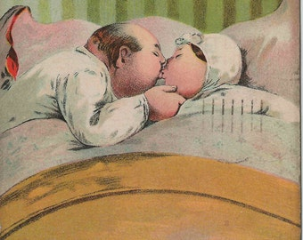 1909 Charming Antique Postcard With Let Us Kiss and Make Up Theme
