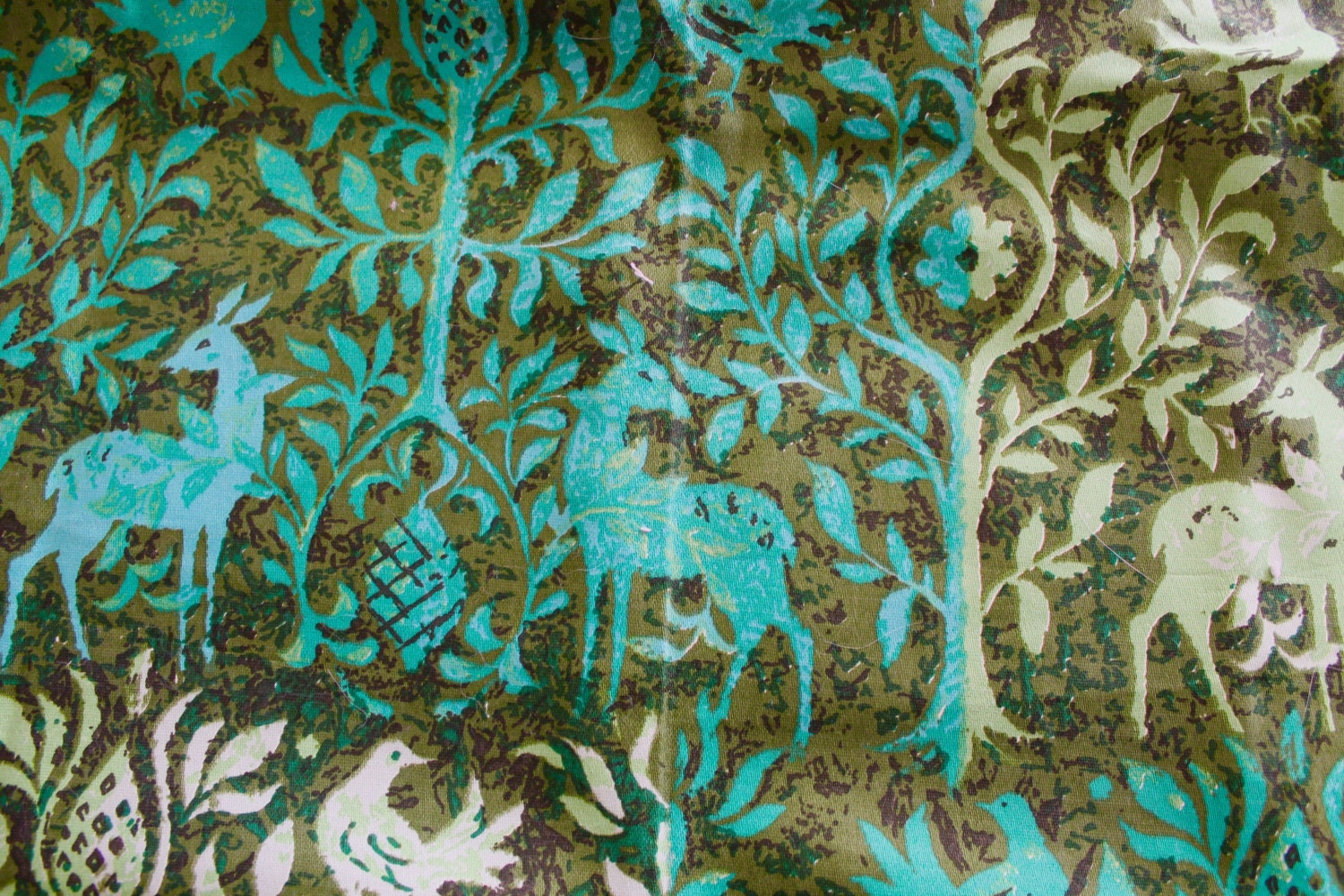 vintage home decor fabric vintage cotton home decor fabric green deer and trees print 11797
