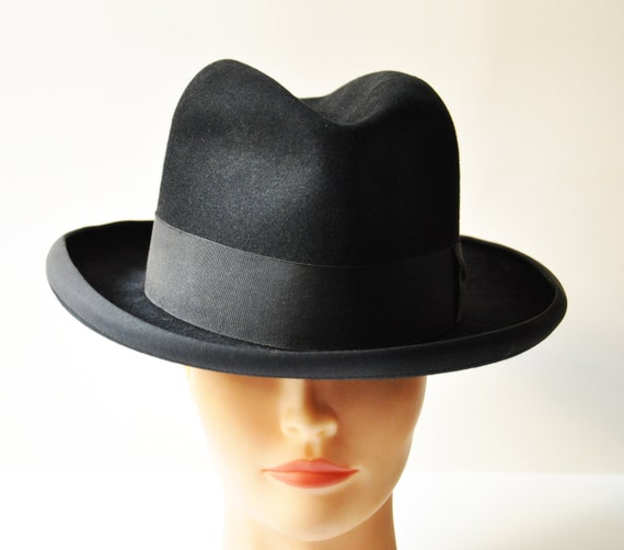 vintage italian men black felt homburg hat by thelittlebiker. Black Bedroom Furniture Sets. Home Design Ideas