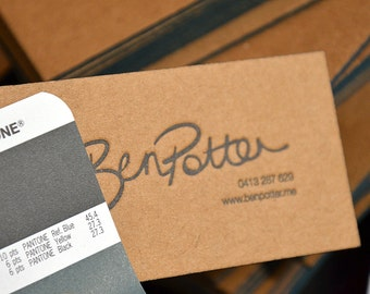 Letterpress Business Cards - Brown Kraft 1,5 mm thick cardboard -1 color 1 side- Painted Edges