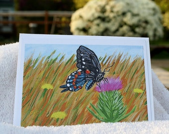 Butterfly thistle, note card, butterfly painting, nature postcard, prairie art print, butterfly greeting card, wildflower card, Item #BTC1