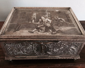 Antique French Silver plate Cigar box