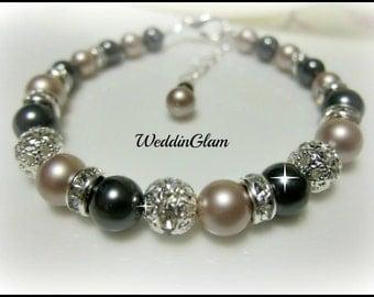 Bridal bracelet for your Vintage Inspired Wedding, bridesmaid Swarovski pearl black with champagne brown bracelet, maid of honour, victorian