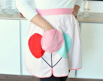 Vintage Apron Balloon Design Pale Pink Polka Dot, Aqua, Red - Balloon is Pocket!