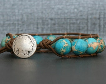 turquoise bracelet - turquoise jewelry - silver indian head nickel button and chocolate brown leather - boho gypsy bohemian wrap bracelet