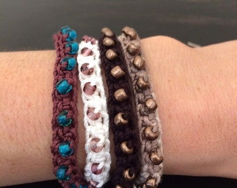 Stackable Tie On Crocheted Bamboo Bracelets
