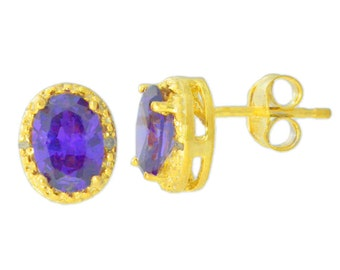 14Kt Yellow Gold Plated Amethyst & Diamond Oval Stud Earrings
