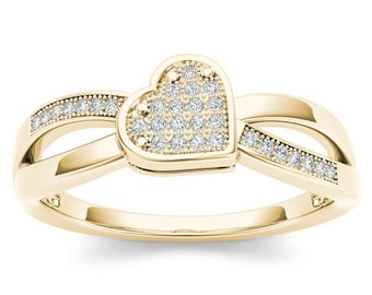 10Kt Yellow Gold Diamond Heart Ring