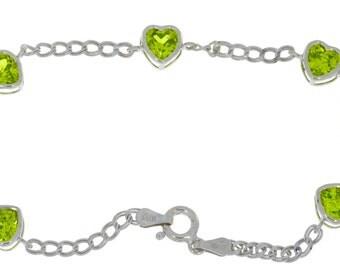 Peridot Heart Bezel Bracelet .925 Sterling Silver