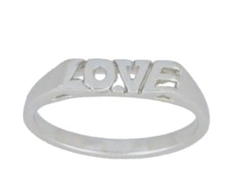 Beautiful Love Engraved Ring .925 Sterling Silver
