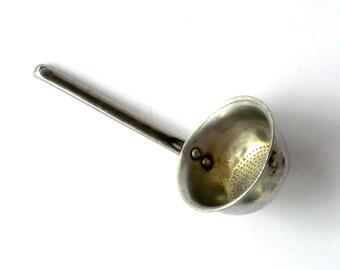 Vintage Tea Strainer,  Metal Olive Scoop ,Vintage Brass Sieve