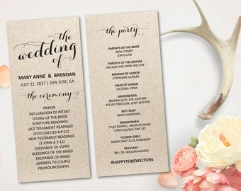 "Wedding Program Card, Rustic Kraft Calligraphy Program, Modern Script Program, 4""x9"" Double Sided DIY Printable, FREE SHIPPING! (P46)"
