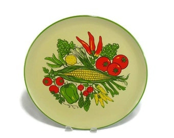Vintage Lorrie Design Serving Tray * Garden Vegetables * Yellow Red and Green