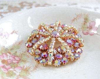 Vintage Gold Flower Rhinestone Pin - Filigree Fall Color Brooch
