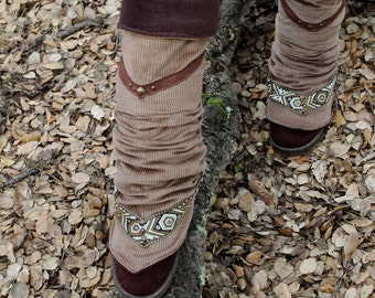 Woodland winter leg warmers tribal festival hippie fantasy with brown poolar fleece and off white Corduroy