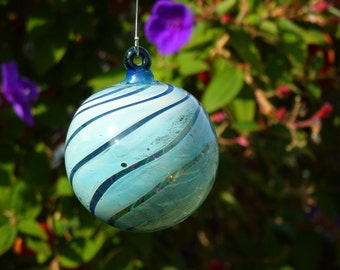 Fumed Handblown Green Glass Ornament with Swirled Stripes