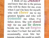 Sister Card - Gift for Sister - Sister Gift- 5 x 7 Note Card - Blank Inside - Perfect for Matting and/or Framing - I Think of My Sister