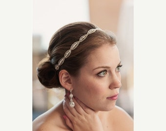 SALE Crystal Bridal Tieback, Rhinestone Wedding Headband, Bridal Hairpiece, Wedding Hairpiece, Beaded Crystal Hair Accessory, Vintage Inspir