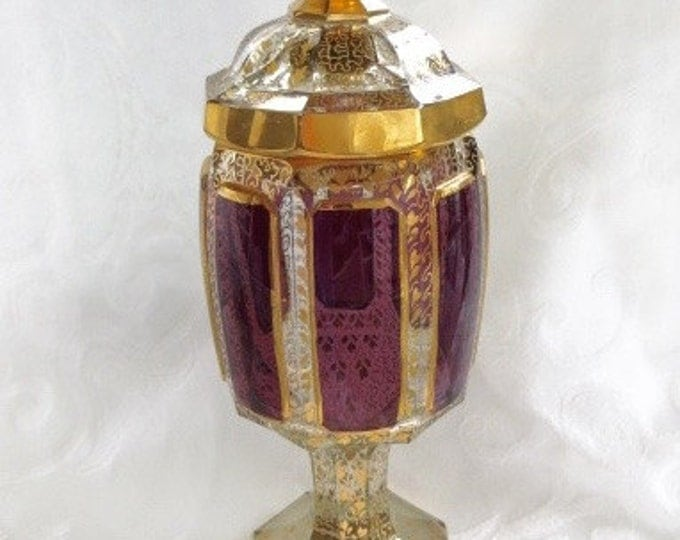 Amethyst Bohemian Glass Jar, Footed Compote with Lid, Vintage Bohemia Glass Decanter