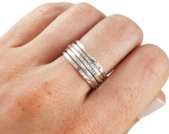 Thick Stacking Rings Sterling Silver- Set of 5