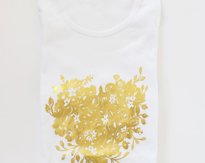 White Women's Cotton Tank Gold Foil Heart Floral by The First Snow