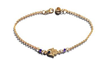 Hamsa Bracelet on Gold Chain - Delicate Protective Good Luck Charm Bracelet