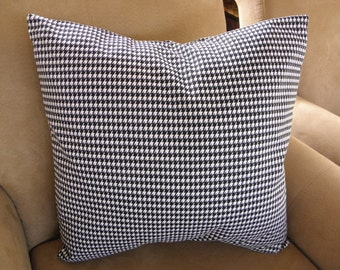 Big Sale !! Black and White Houndstooth Fabric Pilow Cover 20x20
