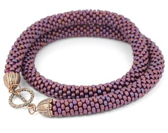 Bead Crochet Rope - beaded necklace, bead crochet rope, beadwork, beading, pink, purple, violet