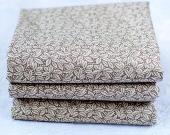 Taupe Leaf Print Fat Quarter | Cotton Fabric