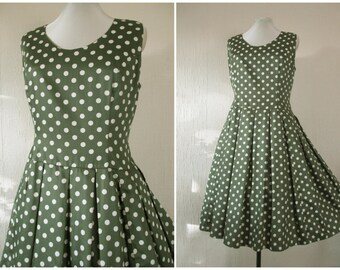 1950s Dress 50s Green Polka Dot Drop Waist Full Skirt Box Pleated 1960s Dress Polished Cotton Sateen M / L