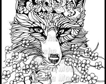 Fox Forget Me Nots Coloring Page for Adults