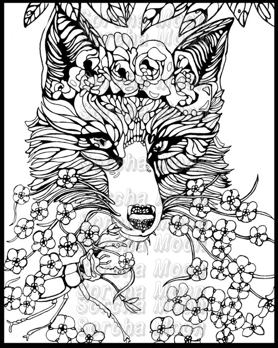 Items Similar To Fox Forget Me Nots Coloring Page For