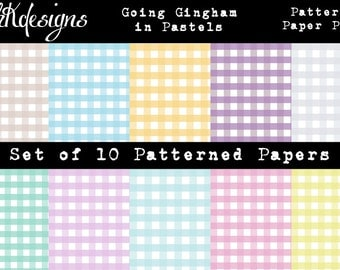Going Gingham in Pastels Digital Paper Pack
