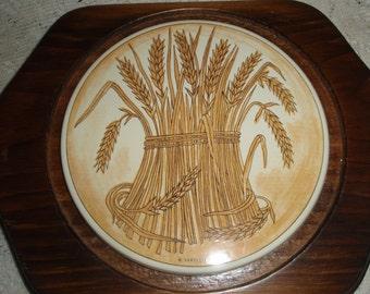 Wheat Tile in wood framing Trivet, Harvest design Hot Pot Trivet, Country Kitchen trivet
