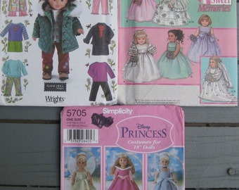 """Simplicity Doll Patterns Clothes For 18"""" Doll Lot of 3 Uncut New Condition"""