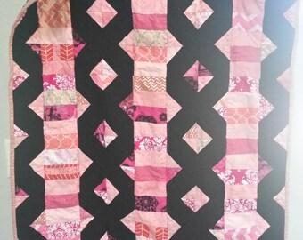 Pink & Black Kissing Coins Quilt, Baby Blanket, Crib Quilt, Toddler Blanket, Snuggle Quilt, Security Blanket, Throw Blanket, Travel Blanket