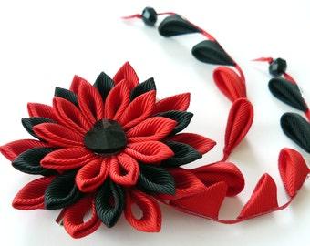 Red Black Kanzashi Fabric Flower hair clip with falls. Red black geishas hair piece. Japanese hair clip. Red and black hair piece.