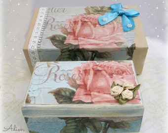Rose Shabby Chic Jewellery Trinket Box, Matching Gift Box, Hand Decorated,  Decoupage Box, Christmas Gift Idea