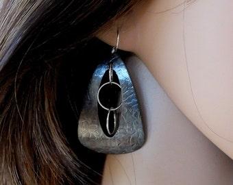 Mixed Metal Earrings, Oxidised Copper and Silver Earrings, Artisan earrings, Triangular Earrings, Rustic Earrings, Metalsmith Earrings