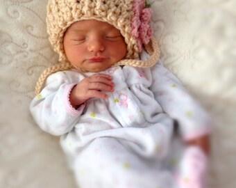 Newborn Baby Crochet Flower Bonnet Photo Prop