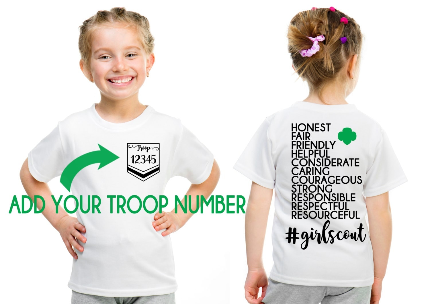 Girl scout custom troop girl scout law design front and back for Girl scout troop shirts