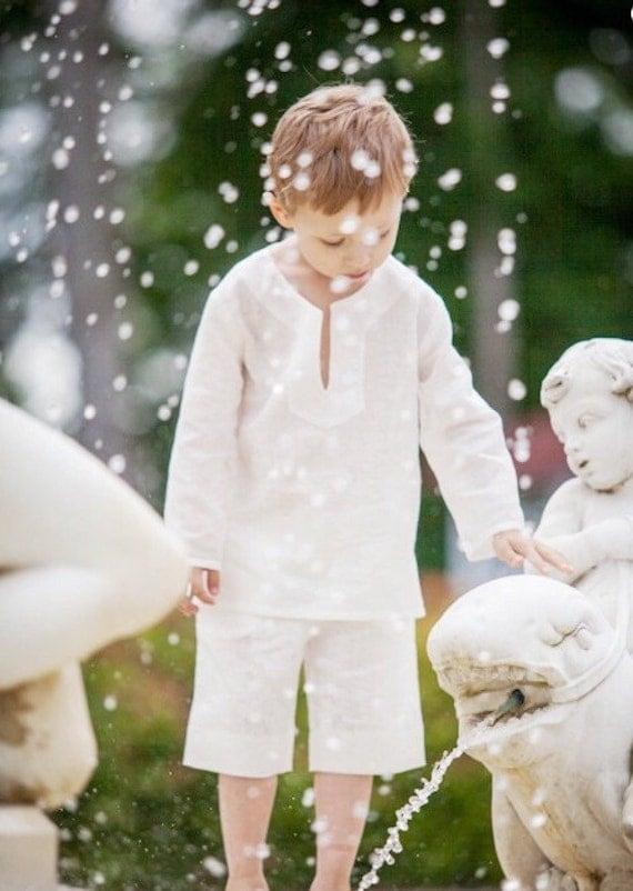 Boys White Shirt Linen Beach Soft Wedding Party Special