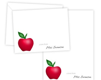 Personalized Stationery Set - Personalized Folded Note Cards & Notepad - Apple - Gift for the Teacher, Set of 10 Cards + Notepad
