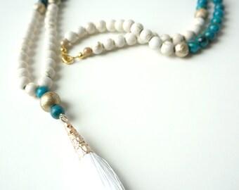 White Tassel Necklace, Boho Necklace