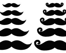 Mini Mustaches, filled stitch embroidery design, 10 pack, 5 regular, 5 handlebar, machine embroidery designs